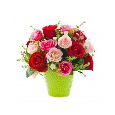 Basket of 12 Elegance Assorted Pink and Red Roses