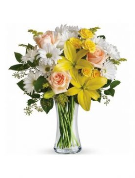 Glass Vase of Pink Roses with yellow Asiatic lilies
