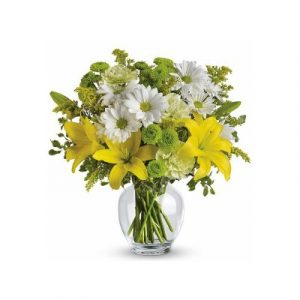 A Glass Vase of Vibrant Mix Flowers