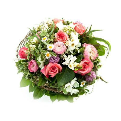 A basket of Magnificent Pink Roses and Lilies
