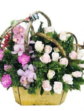 Dedicated Pink and White Roses Basket