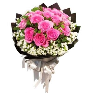 An elegance bouquet of long stem pink roses