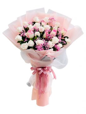 PINK AND WHITE ROSE BOUQUET – 24 STEMS