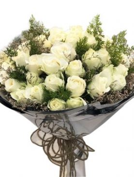24 Purity White Roses Bouquet