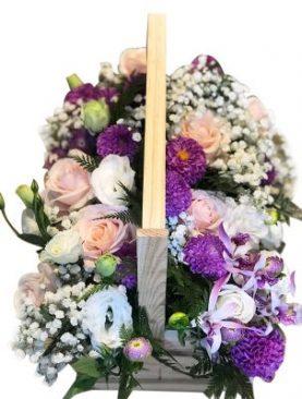 Roses Wooded Basket